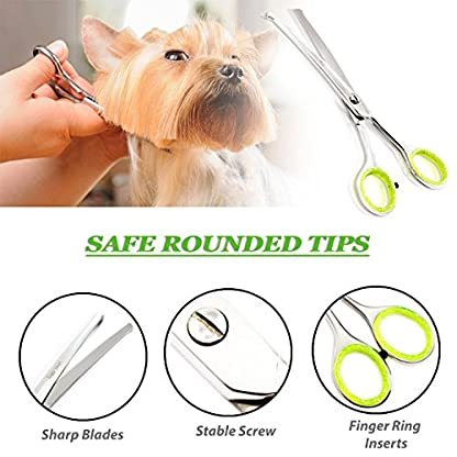Unicorn Plus Dog Scissors - Professional Pet Scissors - Dog and Cat Face,Ear,Paw Hair Scissors - Rounded Tip Curved… 2