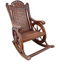 Shilpi Hand Carved Wooden Rocking Chair