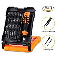 Precision Screwdriver Set, AOBETAK 33 in 1 Magnetic Repair Tool Kit Include Ratchet/Hex/Star Torx/Pentalobe/Nut Drivers Sets with Portable Case for PC Mac iPhone Watch Glasses and Other Electronics