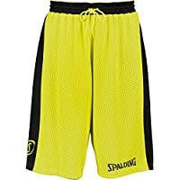 Spalding Essential Reversible Short de Juego, Hombre, Negro/neón Amarillo, M