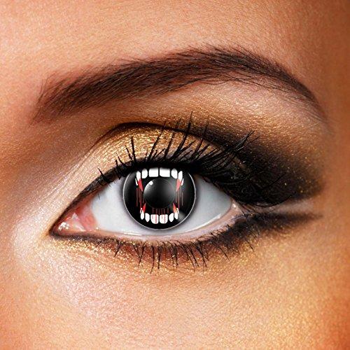 Paio di lenti a contatto colorate Vampire Eye lenti a contatto unisex NERE con denti vampiro finte senza diottrie in soluzione salina wildcat durata 3 mesi lenti a contatto per carnevale e halloween o scherzo lenti a contatto decorative