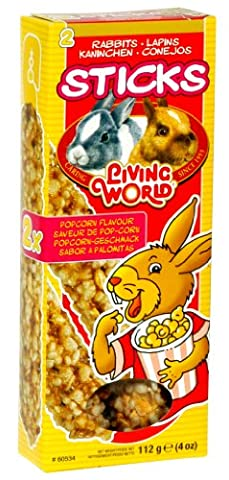 Living World Rabbit Popcorn Stick Treats, Pack of 4