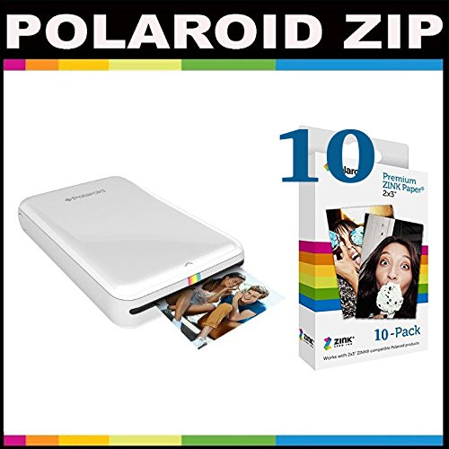 Polaroid Zip Mobile Printer Zink Zero Ink Printing Technology - With Polaroid 2x3 Inch Premium Zink Photo Paper (10 Sheets)- White