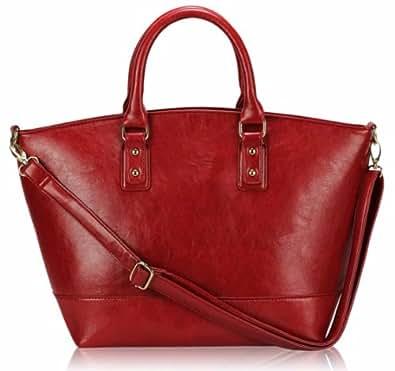 Womens Red Designer Long Strap Handbag Tote