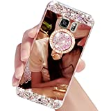 Diamant Bling Luxe Coque pour Samsung Galaxy S7 Edge – Sunroyal Ultra Slim Cristal Brillant Reflet Miroir Case avec 360 Degrés Rotation Bague Glitter Anneau Stand Holder Flex Soft Gel en TPU Silicone Shockproof Anti Scratch Couverture Shell pour Femme Fille Miroir Etui maquillage pour Samsung Galaxy S7 Edge SM-G935F - Rose Or