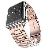 Uhrenarmband apple Meiya Luxus Premium, Edelstahl-Uhrenarmband für apple-Armbanduhr 38 mm, 42 mm Klassisch-Elegant, im Business-Stil, aus Metall, glänzend, mit Handschlaufe, mit Schließe für apple-Armbanduhr 38 mm, feuerverzinkt, 42 mm, apple-Uhrenarmband, Armband, Geschenk, Metall,  - ROSEGOLD, 42mm