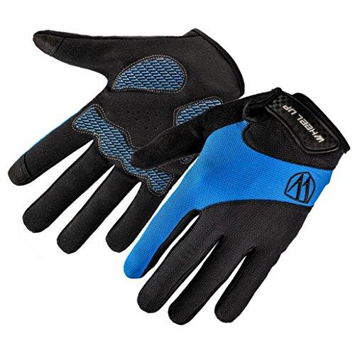 HCFKJ RAD UP Full Bike Finger Bildschirm Radfahren Fahrrad Handschuhe Anti-Rutsch-Atmungsaktiv (L, BLAU)