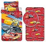 Cars Team 95 (Rosso) 3 Pezzi Set Letto Singolo Copripiumino + Federa + Lenzuola c/Angoli Cotone Biancheria da Letto Bambini