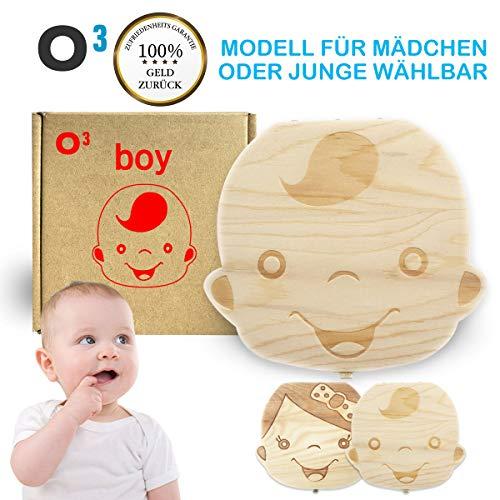 O³ Milchzahndose // Zahnbox für Mädchen oder Jungen wählbar // Dose aus Kiefernholz // Deutsche Version // Ideal als Geschenk zur Geburt // Zahndose Zahnfee (Junge) - Junge Münze