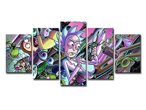 SDZSH 5 Piezas - Rick y moti Anime Cuadro de Pared...