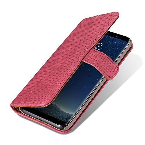 Retro Matte Breatheable Air-Mesh PU-Leder Folio Stand Brieftasche Case Cover mit Kickstand Card Slots für Samsung Galaxy Note 8 ( Color : Red ) Red