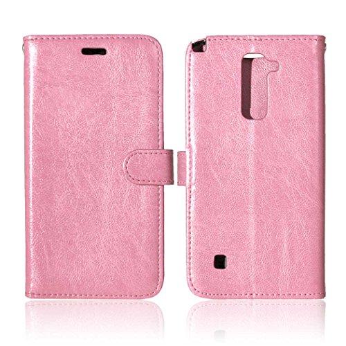 YHUISEN Solid Color Premium-PU-Leder-Mappen-Magnetic Buckle Design-Flip Folio Case Schutzhülle mit Kartensteckplatz / Stand für LG Stylus 2 / LG G Stylo 2 ( Color : White , Size : LG Stylus 2 ) Pink