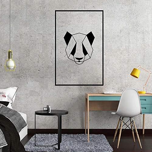 SLQUIET Geometrische Panda Wandaufkleber Wohnzimmer Büro Dekoration Kinder Wandaufkleber Vinyl Tapete Aufkleber grau 43x60 cm