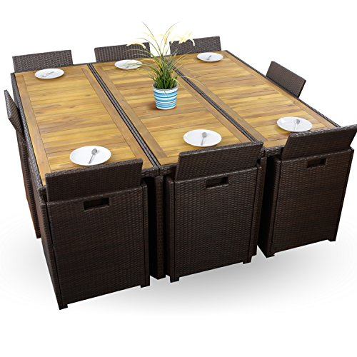 26 tlg polyrattan sitzgruppe braun w rfelsystem gartenm bel set 8 personen 8 4 1 xxxl top. Black Bedroom Furniture Sets. Home Design Ideas