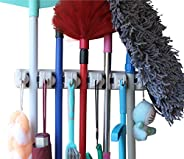 YOi Plastic Mop and Broom Holder with 5 Slot Position and 6 Hooks Upto 11 Tools (Ivory; Standard)