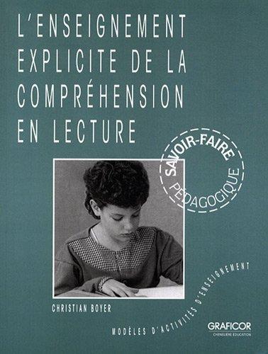 L'enseignement explicite de la compréhension en lecture : Modèles d'activités d'enseignement