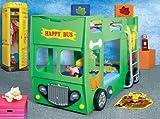 Hohes Etagenbett bus, gelb, rot und blau, mit Omnibussen inkl. Rollrost und Matratze, grün