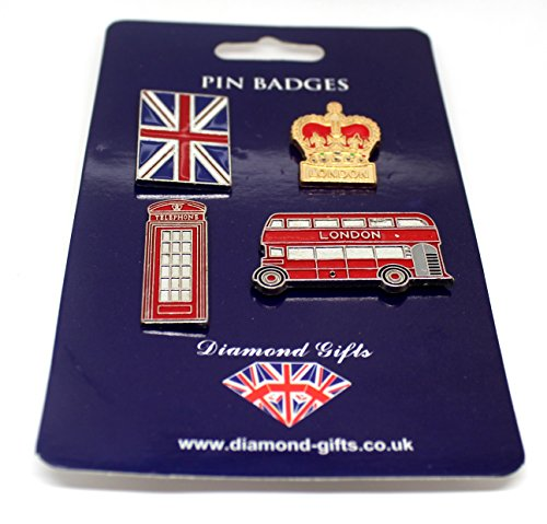 Pack of 4 Retro London Icons Metal Enamel Lapel Pin Badge Set | Union Jack London Routemaster Double Decker Bus Red Telephone Box Phone Booth The Monarch Royal British Crown Pin Badge United Kingdom British Flag Sign Souvenirs Badges Set Pack Bulk Joblot | High Quality Metal Enamel Pin Badge Novelty Collectable Gift Jewellery for Clothes Shirt Jackets Coats Tie Hats Caps Bags Backpacks