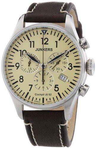 Junkers Men's Quartz Watch Cockpit JU52 61805 with Leather Strap