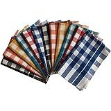 Lushomes Multi Drill Checks Honeycomb Tea Towels (Pack of 12)