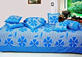 #5: Hargunz 8 Piece Floral Cotton Diwan Set-Blue