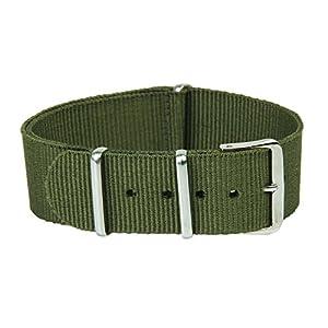 TOOGOO(R) Uhr Armband Uhrarmband Armee Gruen Militaerarmee Nylon Band Armbanduhr Bandwechsel 20mm