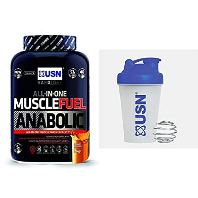USN Muscle Fuel Anabolic Lean Muscle Gain Shake Powder - Caramel Popcorn, 2 kg with USN Metal Ball Mixer Shaker, 400 ml