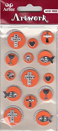"""Artoz Artwork 3D Motiv-Sticker 185550-90, """"Bubbles orange"""", christliche Symbole (Kreuz, Fisch (Ichtus), Kelch, Herz, Blume) silber auf orange, mit Strass-Steinchen und silber-Glitter verziert"""