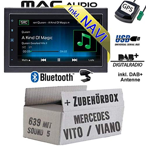 Autoradio Radio Mac Audio Mac 520 DAB - 2-DIN Navigation USB Bluetooth DAB+ Navi Einbauzubehör - Einbauset für Mercedes Vito/Viano 639 - JUST SOUND best choice for caraudio