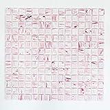 Cristal mosaico blanco rosa mosaico azulejos baño pared trasera pared de ducha GM GSL 515