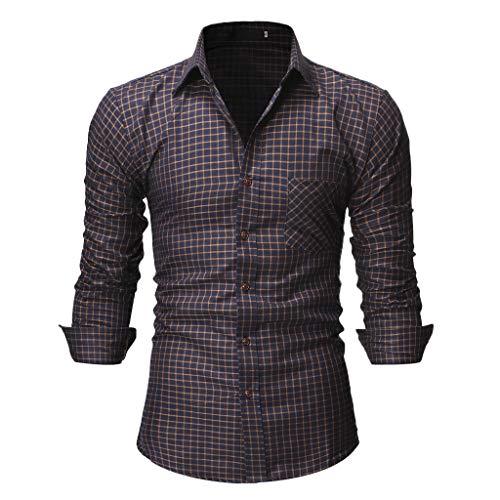 sunnymi  Herren T-Shirt, Beiläufige Normale Plaid Blumengeschäfts Lange Hülsen Knopf T-Shirt Spitzenbluse - Blatt Camouflage Königin
