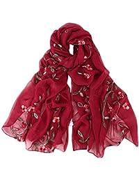 BaZhaHei Echarpe Femme Broderie Mousseline de Soie Envelopper les Châle  Foulard Hijab Bandeau Foulard de tête aefb3576593