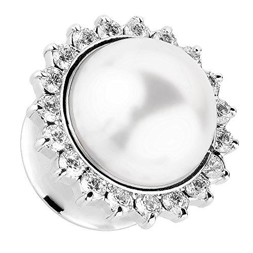 Piersando Ohr Plug Piercing Flesh Tunnel Ohrpiercing Edelstahl Single Flared Silber mit Vintage Tribal Ethno Perle 6mm