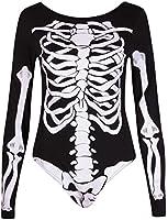 Womens Haloween Bones Skeleton Print Ladies Long Sleeve Round Neckline Leotard Bodysuit Top