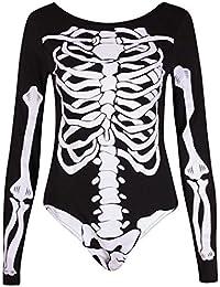 Femmes Haloween Os Imprimé Squelette À Manches Longues Femmes Col Rond Justaucorps Body