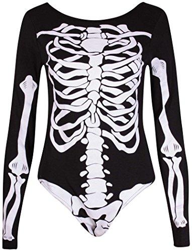 Damen Halloween Knochen Skelettaufdruck Damen Langärmlig Runder Halsausschnitt Turnanzug Body Top Schwarz