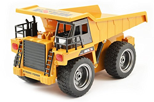 Giant 6 Channel RC Dump Truck with Metallic Cab & Wheels, Lights