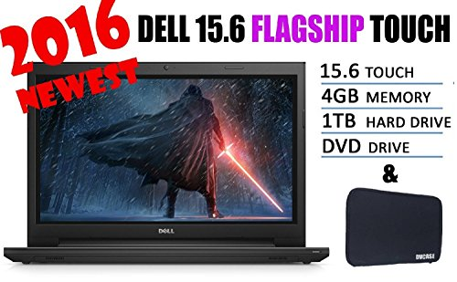 2016 Newest Dell Inspiron Flagship 15.6″ Premium High Performance touchscreen Laptop Intel i3-5005U 4G 1TB HDD HDMI DVD WiFi Windows 10 Black Bundle with Free DVCASE sleeve 510vO6nyEAL