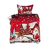 welltobuy ettwäsche-Set, Weihnachtsmann, Bettdeckenbezug für Doppel- und King-Size-Betten mit Kissenhülle, Polyester, rot