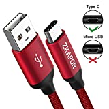USB Type C Cable, ZKAPOR [3Pack 1m 2m 3m] USB C Nylon Braided High Speed Charging and Data Transfer Charger Cable for Samsung Galaxy S9/ S8, Huawei P20/ P10/ Mate10, Motorola Moto G6, Honor View 10/ 9, Xiaomi MI 8/ A1, Nintendo Switch