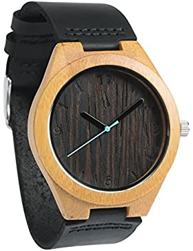 treehut Herren Wenge Bambus Holz Armbanduhr mit echtem schwarzem Lederband Quarz Analog mit Qualität Miyota Bewegung...