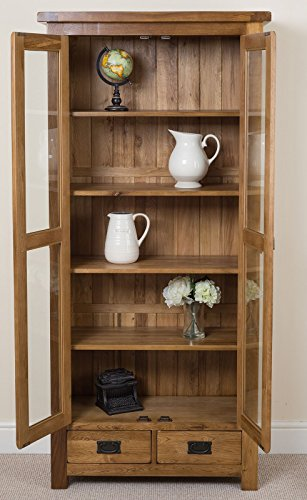 Cotswold Rustic Solid Oak Glass Front Display Cabinet ...