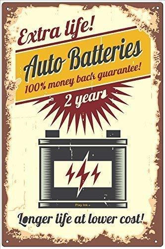 Dozili Retro Auto Battery Longer Life at Lower Cost Schild, Aluminium Metall, Aluminium, einfarbig, 10