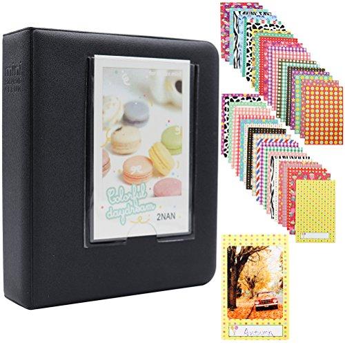 Ablus Store 64 Pockets Mini Photo Album pour Fujifilm Instax Mini 7s 8 8+ 9 25 26 50s 70 90 Caméra Instantanée et Carte Nom (Noir)