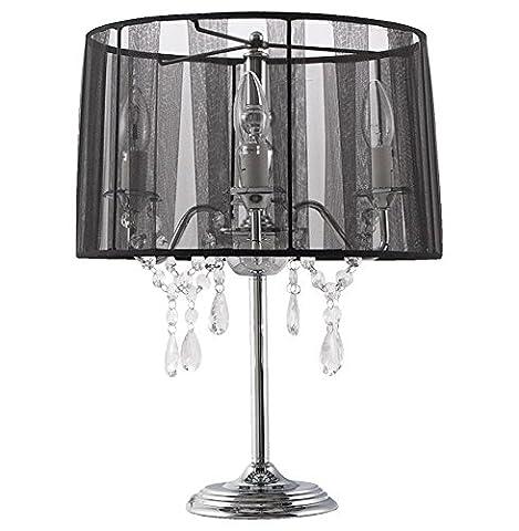 Alterego - Lampe de chevet 'KLASSIK' noire chandelier baroque à pampilles