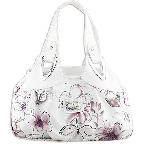 KAXIDY Damen Mädchen PU Leder Handtaschen Schultertaschen Blumentasche Umhängetasche Style-04