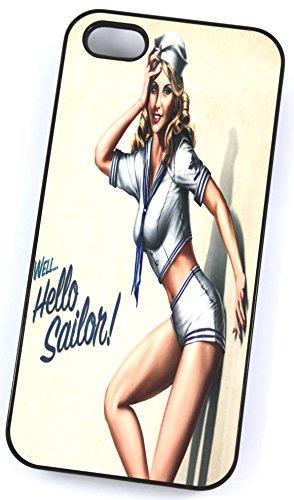 Hello Sailor Pin Up Girl Rétro modèle (Coque rigide en plastique pour iPhone 4/4S Noir/Housse/)