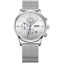 YPS Men Nail Shape Scale Three Functional Subdial Calendar Mesh Band Quartz Wristwatch WTH5345