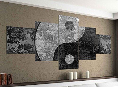 Leinwandbild 5 tlg. 200cmx100cm Yin & Yang Symbol Feng Shui Zen schwarz weiß Bilder Druck auf...