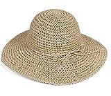 TININNA Sombrero de vestir para mujer,Bohemia Verano Sun Floppy Sombrero de la playa de la paja del borde grande ancho Cap resiste UV Gorro-Beige